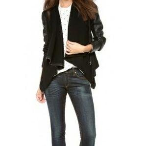 Blank NYC Faux Leather Draped Moto Jacket
